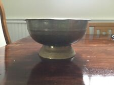 Antique Indonesian Brass Betel bowl, pedestal brass bowl with engraving