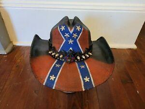 BULL HIDE COWBOY HAT Georgia Flag Red, White & Blue Design, Leather Strap NEW