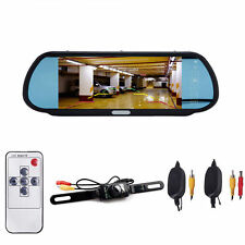 """7"""" LCD Monitor/Mirror Car Wireless Back up Rear View Camera Parking Reverse Kit"""