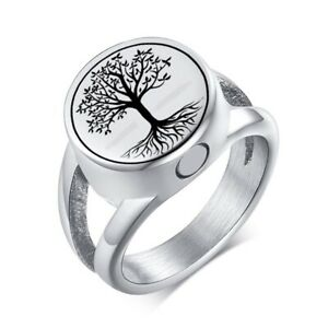 New Tree Of Life Cremation Ashes Memorial Urn Ring Stainless Steel Keepsake Band