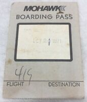 Vintage RARE MOHAWK AIRLINES INC. Passenger Boarding Pass October 1971