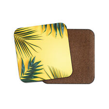 Fern Leaves Coaster - Tropical Plant Leaf Palm Yellow Summer Cool Gift #15117