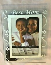 """Clear Glass Silvertone BEST MOM Message 6X8"""" FRAME Holds 4X6"""" Photo"""