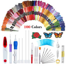 Magic DIY Embroidery Pen Sewing Tool Kit Punch Needle Sets 100 Threa Tw