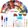 Magic DIY Embroidery Pen Sewing Tool Kit Punch Needle Sets 100 Threads O@FP C8LD