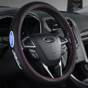 """15"""" Car Steering Wheel Cover Genuine Leather For Ford New"""