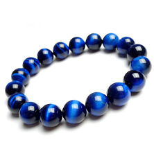 Natural Blue Tiger's Eye Brazil Gemstone Round Beads Bracelet 14 mm