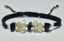 Citrine and Black Tourmaline Delicate Knot Unisex Adjustable Shamballa Bracelet
