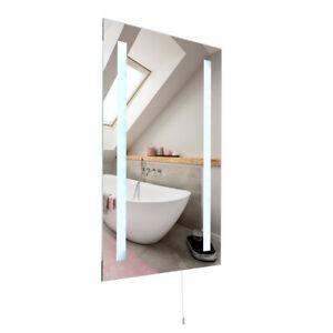 Large Bathroom Mirror Battery Operated Illuminating LED Cool White Light IP44