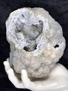 "5-1/2"" Blue Grey Druzy Crystal Coated Botryoidal Chalcedony Agate Geode Quartz"
