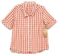 Bit & Bridle Womens Orange Plaid Pearl Snap Short Sleeve Shirt Size Large