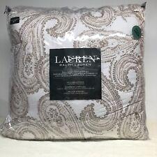Ralph Lauren Full Queen Comforter Shams Paisley White Tan 3 Piece Set New