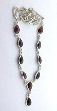 Natural 10 Pear Garnet Cabochon Cab  Gemstone Sterling Silver 18 Inch Necklace