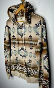 Ralph Lauren Denim Supply Large Aztec Hoodie Sweater RRL Polo VTG Southwestern