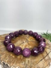 "1 pc Natural Red Ruby Zoisite 12mm 8"" Crystal Healing Stretch Bracelet"