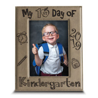 My First Day of Kindergarten-School Portrait- Engraved Leather Picture Frame