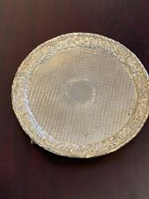 """KIRK REPOUSSE STERLING SILVER (925/1000  MARKS )  7"""" TRAY DIAPERED  RARE"""
