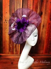 PURPLE#2 CLEARANCE Feather Flower Fascinator Melbourne Cup Wedding Spring Race