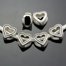 50pcs/Lot Vintage Silver Heart Spacer Beads Fit Charm Bracelet Jewelry DIY ZN188