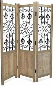 Cheung's 3 Panel Wood Wall décor with Metal Accent Room Divider Brown New