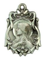 Virgin Mary Madonna 13/16 Inch Sterling Silver Pendant with Sacred Heart Back