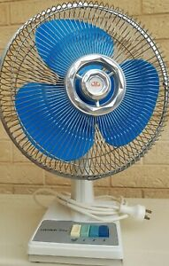Vintage Oscillating Desk Fan Art Deco, Blue Blades Works well, Looks even better