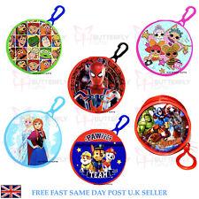 Children's Coin Wallet Purse Clip PVC Round Avengers Frozen Toy Story Spiderman