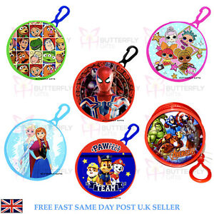 Children's Coin Wallet Purse Clip PVC Round Avengers Frozen Toy Story Spiderman