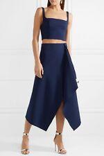 DION LEE navy blue folded wool blend midi skirt AU 8