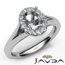 Oval Semi Mount 0.2Ct Diamond Engagement Halo Shared Prong Ring 14k White Gold