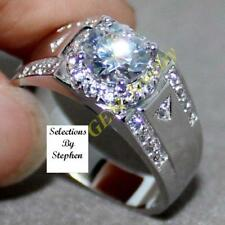 Men'S 1.59 Carat Sparkly Simulated Moissanite Silver Ring Size 9+3/4