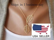Gold ~ Two Leaves Pendant Choker Necklace ~ US Seller ~ BRAND NEW (Quick Ship)