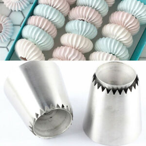 2Pcs Russian Pastry Tip Icing Piping Nozzles Large Nozzles Cupcake Baking Toolcj