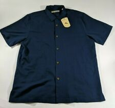 Tommy Bahama Large Silk Cotton Navy Blue Short Sleeve Button Hawaiian Shirt
