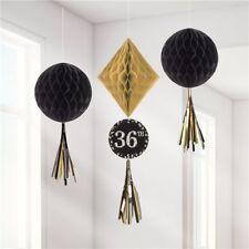 Oro Negro Cumpleaños agregar cualquier edad Decoración Fiesta Diamante Bola de nido de abeja tassal