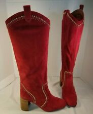 NEW FREE PEOPLE JEFFREY CAMPBELL LOLITA RED SUEDE STUDDED BOOTS WOMEN'S US 8.5