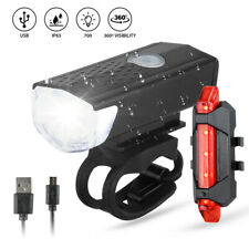 MTB Bike Bicycle Cycling USB Rechargeable LED Head Front Light Rear Tail USA
