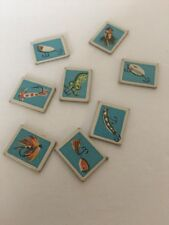 1959, Whitman, Lucky Fisherman Game Parts & Pieces Lot Blue Bait 8 Pieces