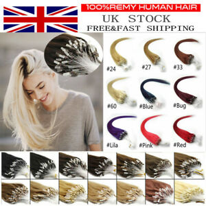 """14""""-24"""" Micro Ring Easy Loop Beads Indian Remy Human Hair Extensions 100s UK"""
