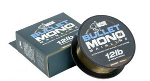 NASH BULLET MONO 1000M FISHING LINE GREEN OR BROWN ALL BREAKING STRAINS