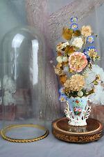 Exclusive rare Vieux paris porcelain Vase with silk flower deco glass globe No2