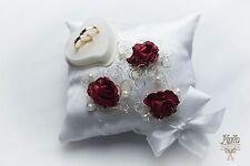 personalised wedding ring cushions, wedding ring pillow, mariage,  p24 red