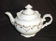 White Gold Trim Scroll Scalloped Teapot Bone China Mountainside Collectible