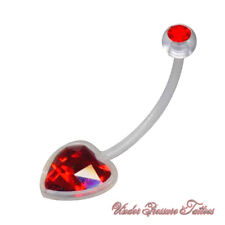 Pregnancy Belly Button Piercing Ptfe Bio Flex Heart Red Clear Crystal New