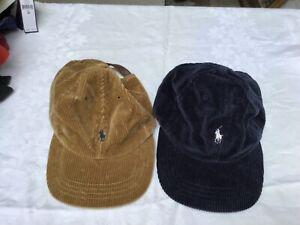 Vintage 90s Polo Ralph Lauren Corduroy Leather Strap Hat Cap RARE OS NWT