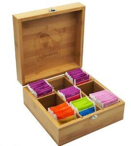 Teebox aus massivem Bambus HxBxT: ca. 10 x 22 x 22 cm Teekasten mit 9 Fächern