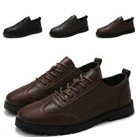 Men's British Lace up Flats Business Breathable Non-slip Leisure Leather Shoes