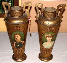 2 Rare 1910's Belgium King Albert 1 + Queen Elisabeth Figural Vases Shape Tins