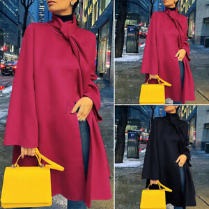 Womens Long Sleeve High Neck Cape Cloak Casual Loose Trench Coat Cardigan Jacket