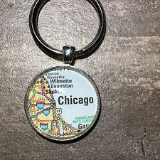 CHICAGO ILLINOIS USA Map Pendant Silver Keychain ATLAS